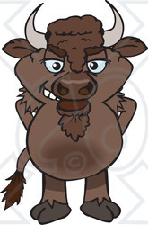 Clipart of a Bison Standing - Royalty Free Vector Illustration
