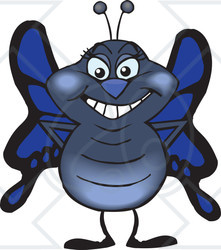 Clipart of a Happy Blue Butterfly Standing - Royalty Free Vector Illustration