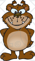 Clipart of a Bear Grinning and Standing with His Hands Behind His Back - Royalty Free Vector Illustration