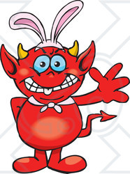 clipart of a friendly waving devil wearing easter bunny clip art mother's day tea clip art mother's day tea