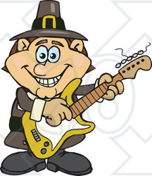 Clipart of a Cartoon Happy Pilgrim Man Playing an Electric Guitar - Royalty Free Vector Illustration