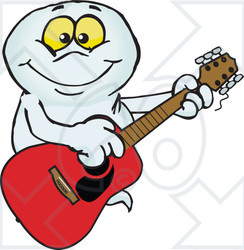 Clipart Of A Cartoon Happy Ghost Playing An Acoustic Guitar