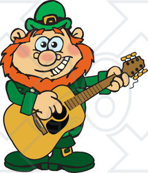 Clipart of a Cartoon Happy St Patricks Day Leprechaun Playing an Acoustic Guitar - Royalty Free Vector Illustration