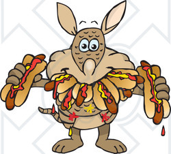 Clipart of a Hungry Armadillo Shoving Weenies in His Mouth at a Hot Dog Eating Contest - Royalty Free Vector Illustration