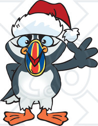 Clipart of a Cartoon Happy Puffin Bird Wearing a Christmas Sant Hat and Waving - Royalty Free Vector Illustration