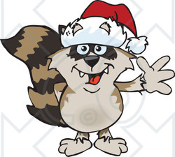 Clipart of a Cartoon Happy Raccoon Wearing a Christmas Santa Hat and Waving - Royalty Free Vector Illustration