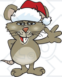 Clipart of a Cartoon Happy Brown Rat Wearing a Christmas Santa Hat and Waving - Royalty Free Vector Illustration
