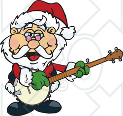 Clipart of a Cartoon Christmas Santa Claus Playing a Banjo - Royalty Free Vector Illustration