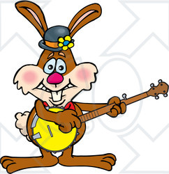 Clipart of a Happy Brown Easter Bunny Rabbit Playing a Banjo - Royalty Free Vector Illustration