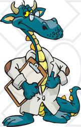 Royalty-Free (RF) Clipart Illustration of a Dragon Scientist, Doctor, Or Professor In A Lab Coat, Holding A Clipboard