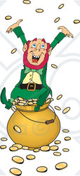 Clipart Illustration of a Greedy And Rich Leprechaun Sitting Atop A Pot Of Gold, Tossing Coins Into The Air