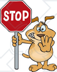Clipart Illustration of a Brown Dog Halting With His Hand And A Stop ...