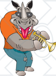 Clipart Illustration Of A Casual Musician Rhino Playing A