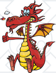 Clipart Illustration of a Red Dragon Snorting Flames, Grinning And Gesturing The Thumbs Up