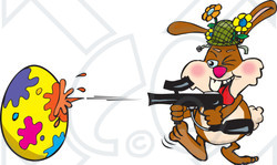 Clipart Illustration of a Bunny Rabbit Having A Blast While Decorating An Easter Egg With A Paintball Gun