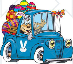 Clipart Illustration of a Dog Wearing Bunny Ears, Waving And Driving A Blue Pickup Truck With Easter Eggs In The Back