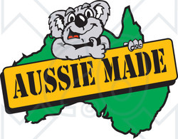 Clipart Illustration of a Koala Giving The Thumbs Up On An Aussie Made Sign Over A Map