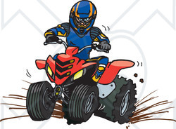 Clipart Illustration of a Man In Safety Gear, Riding A Red Quad Through Mud