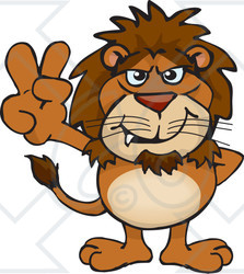Clipart Illustration of a Peaceful Lion Smiling And Gesturing The Peace Sign