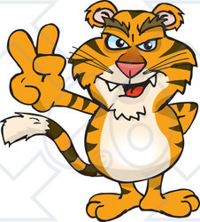 Clipart Illustration of a Peaceful Tiger Smiling And Gesturing The Peace Sign