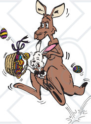 Clipart Illustration of a Bunny Rabbit Riding In A Kangaroo's Pouch And Carrying Easter Eggs In A Basket