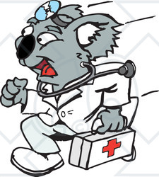 Clipart Illustration of a Koala Emergency Paramedic Running With A ...