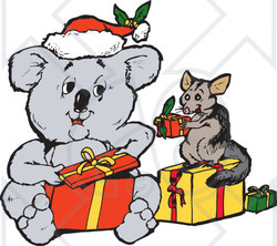 Clipart Illustration of a Koala And Squirrel Exchanging ...