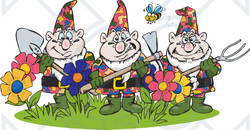 Clipart Illustration of a Bee Flying Over Three Garden Gnomes Guarding Flowers
