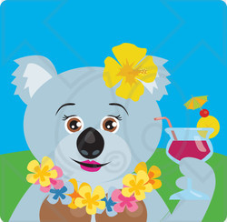 Clipart Illustration of a Female Koala Bear Hawaiian Tourist Character