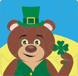 Clipart Illustration of a Teddy Bear Leprechaun Character Holding A Clover