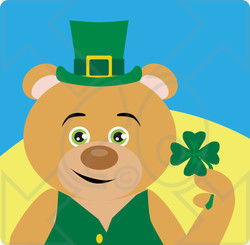 Clipart Illustration of a Brown Bear Leprechaun Character Holding A Clover