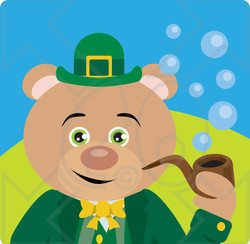 Clipart Illustration of a Leprechaun Bear Character Smoking A Pipe