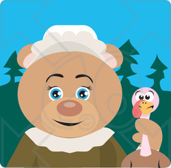 Clipart Illustration of a Bear Pilgrim Character Holding A Turkey
