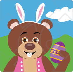 Clipart Illustration of a Brown Bear Easter Bunny Character