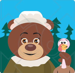 Clipart Illustration of a Brown Bear Pilgrim Character Holding A Turkey