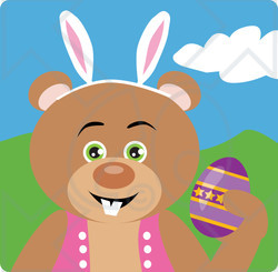 Clipart Illustration of a Bear Easter Bunny Character