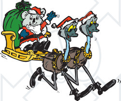 Clipart Illustration of a Koala Santa Riding In A Sleigh Pulled By Emus