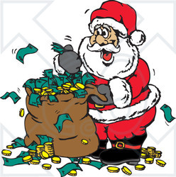 Clipart Illustration of Santa With A Sack Full Of Donated Cash And Coins