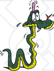 Clipart Illustration of a Green And Yellow Snake With A Bump On His Head