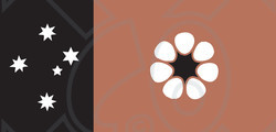Clipart Illustration of a Brown, White And Black Northern Territory Flag With Southern Cross Stars