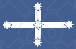 Clipart Illustration of a Blue And White Southern Cross Eureka Flag