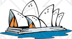 Clipart Illustration of the Sydney Opera House in Australia