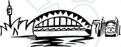 Clipart Illustration of The Arched Sydney Harbour Bridge, Australia