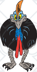 Clipart Illustration of an Angry Cassowary Facing Front