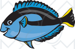 Clipart Illustration of a Happy Blue Regal Tang Fish