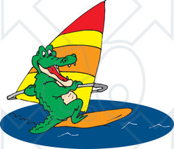 Clipart Illustration of a Green Crocodile Windsurfing