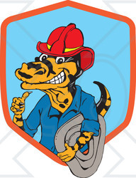 Clipart Illustration of a Miner Or Fireman Goanna Lizard