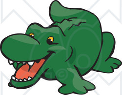 Clipart Illustration of a Cute And Happy Green Crocodile