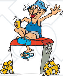 Clipart Illustration of a Drunk Man Sitting On A Cooler And ...