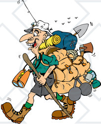 Clipart Illustration Of A Stinky Hiker Carrying Camping Gear And Walking Stick